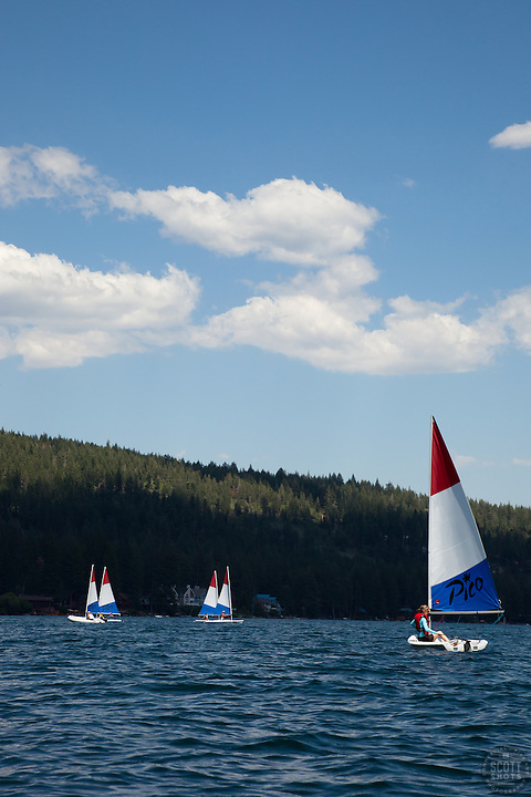 """Laser Sailboats on Donner Lake 2"" - These Pico Laser sailboats were photographed on Donner Lake, CA"
