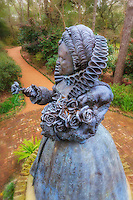 A bronze statue of Queen Elizabeth the 1st at the Elizabethan Gardens on Roanoke Island.