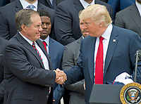 United States President Donald J. Trump, right, shakes hands with head coach Bill Belichick, left, as the President welcomes the Super Bowl Champions to the South Lawn of White House in Washington, DC on Wednesday, April 19, 2917.<br /> Credit: Ron Sachs / CNP/MediaPunch<br /> <br /> (RESTRICTION: NO New York or New Jersey Newspapers or newspapers within a 75 mile radius of New York City)