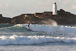 Surfing at Godrevy, Cornwall