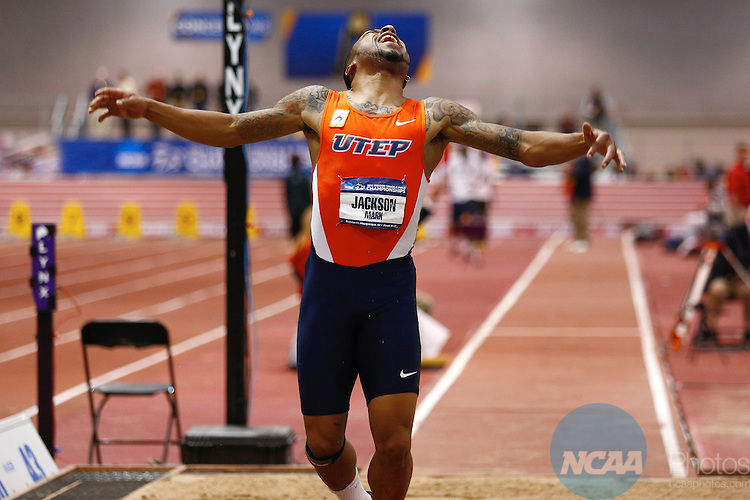 15 MAR 2014: Mark Jackson from the University of Texas El Paso reacts to his triple jump attempt during the Division I Men's and Women's Indoor Track and Field Championships held at the Albuquerque Convention Center Saturday, March 15, 2014 in Albuquerque, New Mexico. Jackson finished in second place for the event. Photo: Juan Antonio Labreche/NCAA Photos