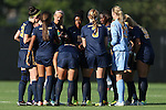 06 September 2013: West Virginia's starters huddle before the game. The Duke University Blue Devils hosted the West Virginia University Mountaineers at Koskinen Stadium in Durham, NC in a 2013 NCAA Division I Women's Soccer match. The game ended in a 1-1 tie after two overtimes.