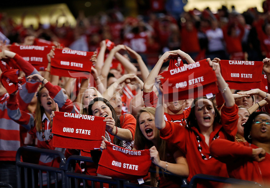 Ohio State Buckeyes react late in the game during the Big Ten Championship game between the Ohio State Buckeyes and the Wisconsin Badgers at Lucas Oil Stadium in Indianapolis, Saturday night, December 6, 2014. The Ohio State Buckeyes defeated the Wisconsin Badgers 59 - 0. (The Columbus Dispatch / Eamon Queeney)