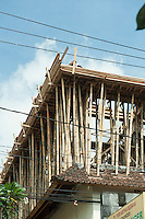 Bamboo used in building construction to support upper floor.<br /> Ubud, Bali