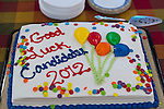 Oct. 23, 2012 - Merrick, New York, U.S. - Good Luck Candidates 2012 cake at the South Merrick Civic Association and North and Central Merrick Civic Association's 4th Annual Meet the Candidate Night held by civic associations of Merrick, with many in the area in new congressional and assembly districts. After each candidate for Congress, New York State Senate, Assembly, and courts spoke to the audience, community members could ask additional questions in the lobby.