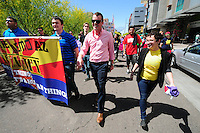Phoenix, Arizona (March 29, 2014) - Grant Miller (Center) leads the march he helped organize through the streets of Downtown Phoenix. Miller is a board member at Equality Arizona. Activist Brianna Pantilione (Right) was part of the protests against SB 1062. Photo by Eduardo Barraza © 2014