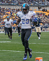 Shaun Wilson (29) scores on a 10-yard touchdown catch. The duke Blue Devils defeated the Pitt Panthers 51-48 at Heinz Field, Pittsburgh Pennsylvania on November 1, 2014.