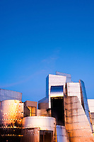 The Frederick R. Weisman Art Museum at the University of Minnesota at sunset. A stainless steel and brick building designed by architect Frank Gehry, the Weisman Art Museum offers an educational and friendly museum experience...