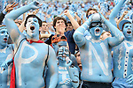 27 October 2012: UNC fans erupt after a last minute game-winning punt return. The University of North Carolina Tar Heels played the North Carolina State University Wolfpack at Kenan Memorial Stadium in Chapel Hill, North Carolina in a 2012 NCAA Division I Football game. UNC won the game 43-35.
