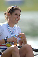 Munich, GERMANY, 0.09.2007,   A Final.  GBR W4X after winnnig the final of the women's Quadruple Sculls  at the 2007 World Rowing Championships, taking place on the  Munich Olympic Regatta Course, Bavaria.  Annie VERNON,  [Mandatory Credit. Peter Spurrier/Intersport Images]. , Rowing Course, Olympic Regatta Rowing Course, Munich, GERMANY