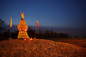 Miechowice Wielkie, Poland, April 2, 2011:.The pope John Paul 2 monument in a village, southern Poland. This monument was made by the villagers in 1985 during communist times and was kept in a garrage for two years. Then, in 1987, during pope's visit to Poland, they took their risk and put the monument up in a village. It stands there ever since.  .(Photo by Piotr Malecki / Napo Images)..Miechowice Wielkie, 2/04/2011:.Pomnik papieza Jana Pawla II. Zbudowany zostal w 1985 roku, lecz trzymany w byl szopie. Dopiero podczas pielgrzymki papieza do Polski w 1987 roku, zostal postawiony w nocy na cokole. .Fot: Piotr Malecki / Napo Images