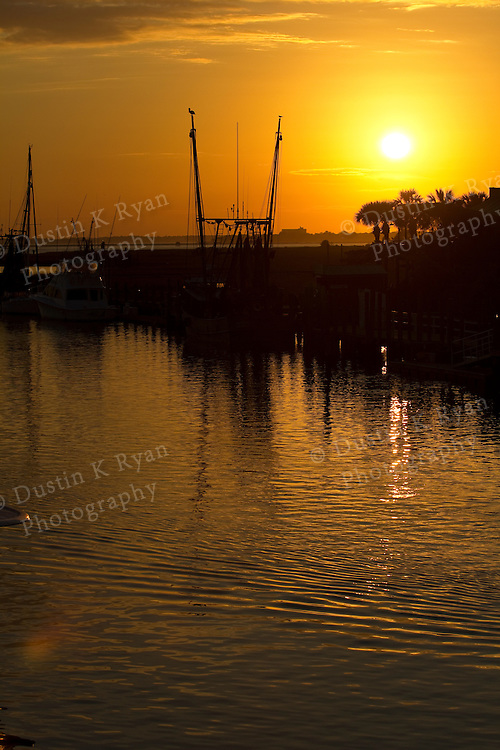 Sunset and Shrimp boats on Shem Creek in Mt Pleasant South Carolina