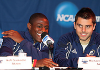 Kofi Sarkodie #8 and Michael Nanchoff #9 of the University of Akron at a post game press conference after the 2010 College Cup semi-final against the University of Michigan at Harder Stadium, on December 10 2010, in Santa Barbara, California.Akron won 2-1.