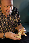 Dr. William Jungers tries fitting a hobbit hip bone (ilium) to a cast of Lucy's tail bone (sacrum). To his surprise, they were a perfect fit. Lucy, the 3.2 million year old type specimen for Australopithicus afarensis, from Ethiopia, was an early biped that stood just over a meter tall. The close match with a 17,000-year-old fossil in Indonesia is astounding. Taken in whole, the pelvic reconstruction suggests Homo floresiensis had a small birth canal well-suited for small-skulled babies.