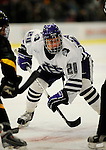 29 December 2007: Holy Cross Crusaders' forward Rob Forshner, a Sophomore from Sundre, Alberta, in action against the University of Vermont Catamounts at Gutterson Fieldhouse in Burlington, Vermont. The Catamounts rallied in the final seconds of play to tie the game 1-1. After overtime, although the official result remained a tie game, the Cats moved up to the championship round by winning a sudden death shootout in the second game of the Sheraton/TD Banknorth Catamount Cup Tournament...Mandatory Photo Credit: Ed Wolfstein Photo