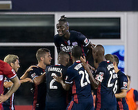 Foxborough, Massachusetts - August 9, 2016: First half action. 2016 Lamar Hunt U.S Open Cup Semifinal, New England Revolution (blue) defeated Chicago Fire (red), 3-1, at Gillette Stadium.<br /> Goal celebration.