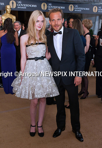"""ELLE FANNING AND STEPHEN DORFF.2010 Governors Awards,Grand Ballroom at Hollywood & Highland,Hollywood, Los Angeles_14/11/2010.Mandatory Photo Credit: ©Petit/Newspix International..**ALL FEES PAYABLE TO: """"NEWSPIX INTERNATIONAL""""**..PHOTO CREDIT MANDATORY!!: NEWSPIX INTERNATIONAL(Failure to credit will incur a surcharge of 100% of reproduction fees)..IMMEDIATE CONFIRMATION OF USAGE REQUIRED:.Newspix International, 31 Chinnery Hill, Bishop's Stortford, ENGLAND CM23 3PS.Tel:+441279 324672  ; Fax: +441279656877.Mobile:  0777568 1153.e-mail: info@newspixinternational.co.uk"""