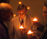 During chapel the chaplains light candles and worship along with Bob Walters at sentences go General Hospital, California.
