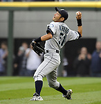 CHICAGO - APRIL 24:  Ichiro Suzuki #51 of the Seattle Mariners throws the ball home during the game against the Chicago White Sox on April 24, 2010 at U.S. Cellular Field in Chicago, Illinois.  The White Sox defeated the Mariners 5-4.  (Photo by Ron Vesely)