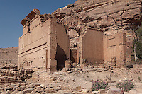 Qasr al-Bint, main temple of Nabataean Petra, Ma'an, Jordan. The temple was built c. 30 BC but destroyed in the 3rd century AD. It was probably dedicated to the Nabatean god Dushara and has an altar in the temenos (sacred precinct) at the bottom of the stairs to the temple. The walls were originally covered in painted friezes and reliefs. This is the only freestanding structure in Petra. Petra was the capital and royal city of the Nabateans, Arabic desert nomads. Picture by Manuel Cohen