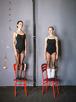 Left to right, Mergime Morina (17) and Etrita Abdullahu (15), two ballet students of The Kosovo Ballet. The Kosovo Ballet is the national ballet from Republic of Kosovo. The first troupe was formed in 1972, but later it was banned during the years of conflict by the Serbian authority. In 2001, after many years of absence, the first generation of the Kosovo Ballet returned to the stage, while at the same time the High School of Ballet were restored. In 2005 the first class graduated.