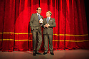 London, UK. 20.11.2013. ERIC AND LITTLE ERN, starring and written by Ian Ashpitel (Ernie Wise) and Jonty Stephens (Eric Morecambe), opens at the Vaudeville Theatre. Photograph © Jane Hobson.