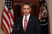 United States President Barack Obama waits to make a statement about the decision of President Hosni Mubarak of Egypt not to seek another term as Egyptian President, at the White House on Thursday, February 1, 2011 in Washington, DC. Earlier today the embattled Mubarak announced that he would not seek reelection after one million people rallied across Egypt calling for Mubarak to give up power. .Credit: Mark Wilson / Pool via CNP