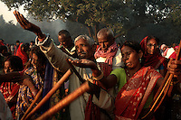 Hindu pilgrims pray to Sun god on the bank of river Gandak during Sonepur fair. Bihar, India, Arindam Mukherjee.