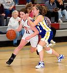 NAUGATUCK, CT- 02 JAN 06- 010207JT06- <br /> Naugatuck's Julie Piroscafo dribbles past Seymour's Joanna Schutter during Tuesday's game at Naugatuck. Seymour won 41-44.<br /> Josalee Thrift Republican-American