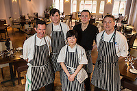 Mark Anderson of the Ruddington Arms (left),, New College lecturer Elliott Richardson (right) pictured with Mark's chefs, from left Morgan Gerrard, Qiu Chen and Alistair Beattie