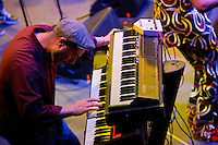 Victor Axelrod plays the keys for Antibalas at Union Transfer in Philadelphia on December 13, 2012.