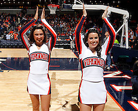 CHARLOTTESVILLE, VA- JANUARY 7: Virginia Cavalier cheerleaders perform during the game against the Miami Hurricanes on January 7, 2012 at the John Paul Jones Arena in Charlottesville, Virginia. Virginia defeated Miami 52-51. (Photo by Andrew Shurtleff/Getty Images) *** Local Caption ***