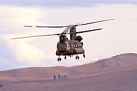 "Nevada Army National Guard Ch-47D ""Chinook"" aircraft from Detachment 1, 140th Aviation Company flies over Lemon Valley, north of Reno, Nevada."
