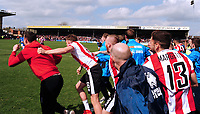 Lincoln City players rush on to celebrate at the final whistle<br /> <br /> Photographer Andrew Vaughan/CameraSport<br /> <br /> Vanarama National League - Lincoln City v Macclesfield Town - Saturday 22nd April 2017 - Sincil Bank - Lincoln<br /> <br /> World Copyright &copy; 2017 CameraSport. All rights reserved. 43 Linden Ave. Countesthorpe. Leicester. England. LE8 5PG - Tel: +44 (0) 116 277 4147 - admin@camerasport.com - www.camerasport.com