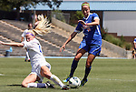 26 August 2012: Florida's Annie Speese (13) gets past Duke's Erin Koballa (14). The University of Florida Gators defeated the Duke University Blue Devils 3-2 in overtime at Fetzer Field in Chapel Hill, North Carolina in a 2012 NCAA Division I Women's Soccer game.