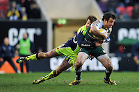 Matt Smith of Leicester Tigers is tackled by Danny Cipriani of Sale Sharks. Aviva Premiership match, between Leicester Tigers and Sale Sharks on February 6, 2016 at Welford Road in Leicester, England. Photo by: Patrick Khachfe / JMP