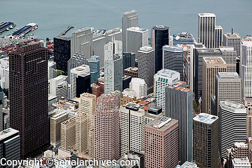 aerial photograph 555 California Street, 333 Bush Street and other skyscrapers San Francisco
