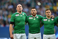 Paul O'Connell, Sean O'Brien and Paddy Jackson of Ireland sing Ireland's Call during the national anthems. Rugby World Cup Pool D match between Ireland and Romania on September 27, 2015 at Wembley Stadium in London, England. Photo by: Patrick Khachfe / Onside Images