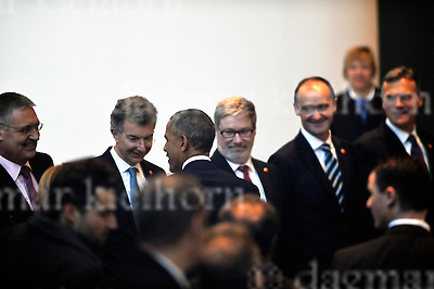 Nov.17-16 Chancellery,Berlin,Germany<br /> Outgoing US president, Barack Obama is<br /> welcomed by close friend and partner, Chancellor Angela Merkel and says goodbye to a grope of members of the chancellery