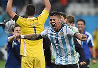 FUSSBALL WM 2014                HALBFINALE Niederlande - Argentinien       09.07.2014 Marcos Rojo (Argentinien) jubelt nach dem Einzug in das Finale