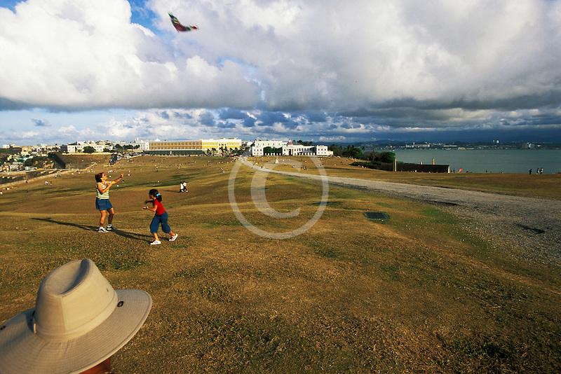 Puerto Rico, San Juan, Kite flying in front of El Morro