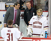 Joe Woll (BC - 31), Marty McInnis (BC - Assistant Coach), Bert Lenz (BC - Director-Sports Medicine), Ryan Edquist (BC - 35) - The Boston College Eagles defeated the visiting Providence College Friars 3-1 on Friday, October 28, 2016, at Kelley Rink in Conte Forum in Chestnut Hill, Massachusetts.The Boston College Eagles defeated the visiting Providence College Friars 3-1 on Friday, October 28, 2016, at Kelley Rink in Conte Forum in Chestnut Hill, Massachusetts.