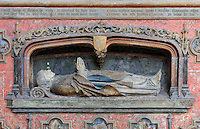 Mausoleum of Adrien de Henencourt, died 1530, in polychrome wood, at the Basilique Cathedrale Notre-Dame d'Amiens or Cathedral Basilica of Our Lady of Amiens, built 1220-70 in Gothic style, Amiens, Picardy, France. Adrien de Henencourt was canon of the cathedral 1490-1530, provost 1465-97 and dean 1495-1529. Amiens Cathedral was listed as a UNESCO World Heritage Site in 1981. Picture by Manuel Cohen