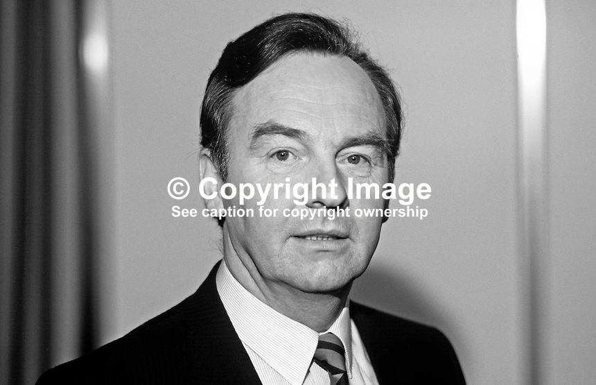 Michael Woods, TD, Fianna Fail, Minister for Social Welfare, Rep of Ireland, Ard Fheis, 19880203MW2.<br /> <br /> Copyright Image from Victor Patterson, 54 Dorchester Park, Belfast, UK, BT9 6RJ<br /> <br /> t: +44 28 90661296<br /> m: +44 7802 353836<br /> vm: +44 20 88167153<br /> e1: victorpatterson@me.com<br /> e2: victorpatterson@gmail.com<br /> <br /> For my Terms and Conditions of Use go to www.victorpatterson.com