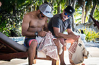 Namotu Island Resort, Namotu, Fiji. (Saturday May 31, 2014) Jadson Andre (BRA) and Tiago Pires (PRT).–  The official Opening Ceremony for the 2014 Fiji Pro was held this afternoon on Tavarua Island with a tradition blessing and kava ceremony for the officials and Top 34 surfers. Photo: joliphotos.com