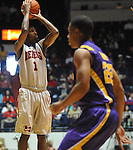 "Mississippi's Terrance Henry (1) shoots against LSU at the C.M. ""Tad"" Smith Coliseum in Oxford, Miss. on Saturday, February 25, 2012. (AP Photo/Oxford Eagle, Bruce Newman).."
