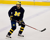 Mark Mitera (Michigan 17) takes part in the Wolverines' morning skate at the Xcel Energy Center in St. Paul, Minnesota, on Friday, October 12, 2007, during the Ice Breaker Invitational.
