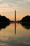 Washington DC; USA: The Reflecting Pool on the National Mall, with the Washington Monument in the background, at dawn.Photo copyright Lee Foster Photo # 5-washdc82620