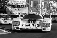 MIAMI, FL - MARCH 2: The Joest Racing Porsche 962 116IM is driven by Gianpiero Moretti and Randy Lanier during the Lowenbrau Grand Prix of Miami IMSA GTP race on the temporary street circuit in Bicentennial Park in Miami, Florida, on March 2, 1986.