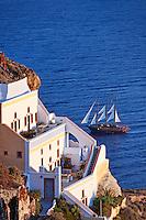 A ship doing a cruise in Santorini, Greece